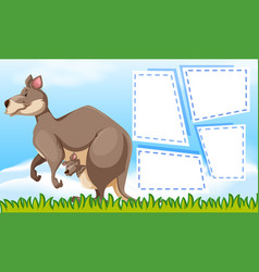 kangaroo on note template vector image