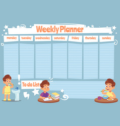 Kid weekly planner children cute calendar weeks vector