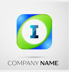 Letter i logo symbol in the colorful square vector