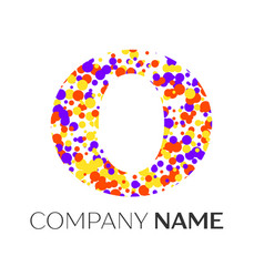 Letter o logo with purple yellow red particles vector