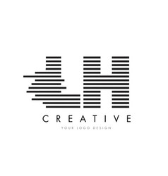Lh l h zebra letter logo design with black and vector