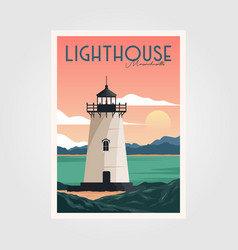 Lighthouse and sunset view vintage poster vector