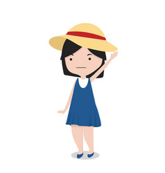 little girl with hat cartoon character vector image
