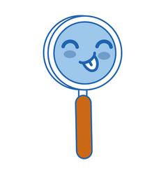 magnifying glass kawaii cartoon vector image
