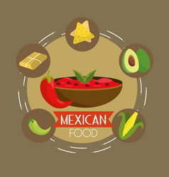 mexican food with spicy sauce background vector image