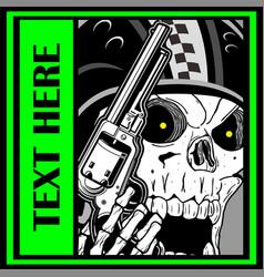 Military skull holding a gun hand drawing skull vector