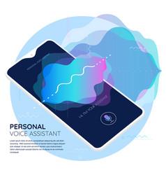 mobile app ui personal voice assistant 3d mockup vector image