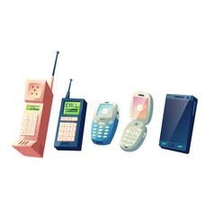 Mobile phones evolution cartoon concept vector