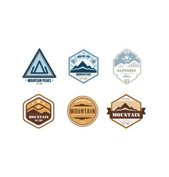 mountain peaks logo design set camping mountain vector image