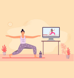 online yoga class woman meditation and do fitness vector image