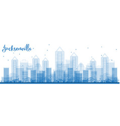 Outline jacksonville florida usa city skyline vector