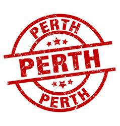 Perth red round grunge stamp vector