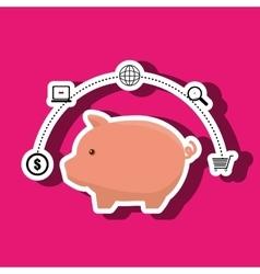 piggy buy store buy vector image