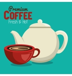 Premium coffee pot and cup graphic vector