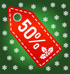 red christmas sale shopping tag icon xmas vector image