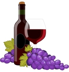 Red wine bottle and wineglass vector image