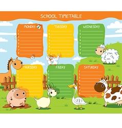 School timetable farm vector