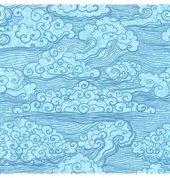 Seamless pattern of blue sky with clouds EPS10 vector