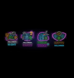 set four colorful halloween designs vector image