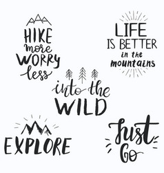 set hand drawn inspirational quotes about vector image