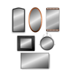 set realistic 3d mirrors isolated on vector image