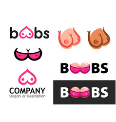 signs for logotypes with sexy female boobs vector image