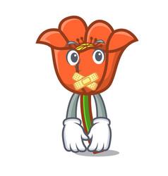 Silent poppy flower mascot cartoon vector