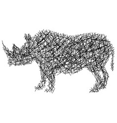 silhouette rhinoceros with messy straight lines vector image
