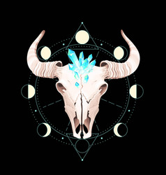 Skull a bull is put into geometrical figures vector