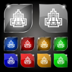 skyscraper icon sign Set of ten colorful buttons vector image