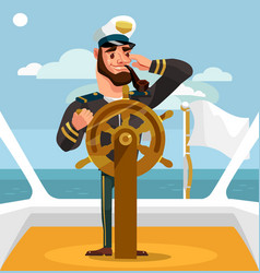 Smiling happy captain character helm vector