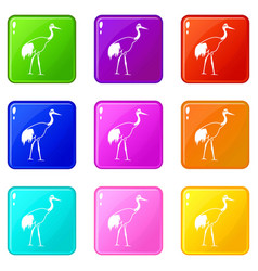 stork set 9 vector image