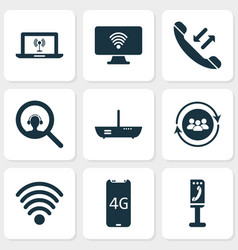 Telecommunication icons set with team vector