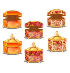 the set of stages of decorating casket or gift vector image
