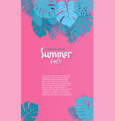 vertical abstract summer sale paper cut background vector image