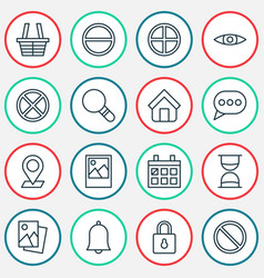 Web icons set collection safeguard research vector