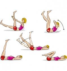 Woman doing abdominal exercise vector