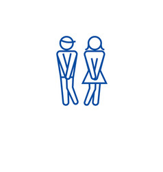 Woman wc man toilet line icon concept woman wc vector