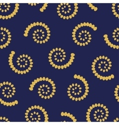 Yellow swirls on blue background seamless pattern vector image