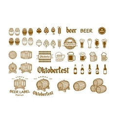 Beer Label and Logos drink icon vector image vector image
