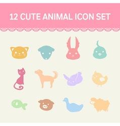 cute pastel animal cartoon icon set vector image
