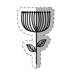 flower decoration ornate monochrome vector image