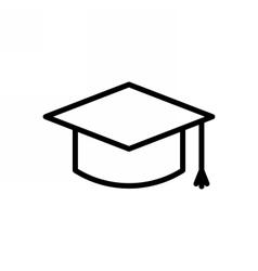 Graduation Cap Outline Icon vector image