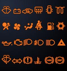 Illuminated car dashboard icons vector image vector image
