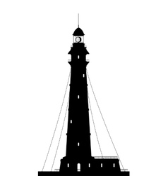 Lighthouse Silhouette of large lighthouse isolated vector image vector image