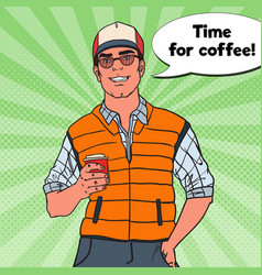 pop art happy cool man with cup of coffee vector image vector image