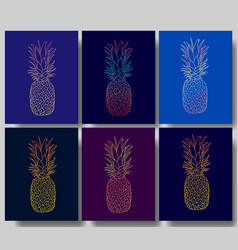 set of the pineapple posters vector image vector image