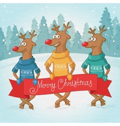 three deer on the background Winter forest vector image