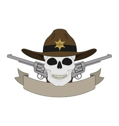 Wild west sheriff emblem vector image vector image