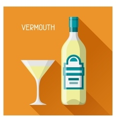 Bottle and glass of vermouth in flat design style vector image